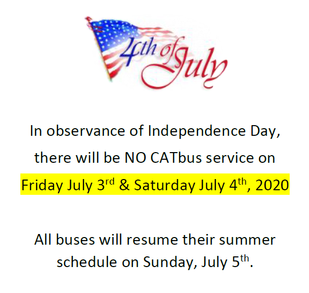 no bus service july 3rd and 4th
